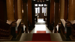 staircase with red carpet - entrance (light) - historic interior Footage