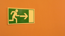symbol - emergency exit - on the wall Footage