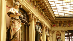 historic building - interior. Sculptures with paintings Footage