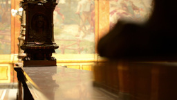 Decorative handrail - a historic building (interior). Painting in background Footage
