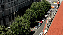 Prague, Czech Republic. View from the roof. Street with trees Footage