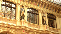 historic building - interior. Sculptures with paintings and windows Footage