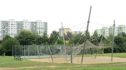 playground with rope center and housing estate (development): high-rise block of Footage