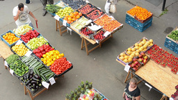 Farmers Market With People stock footage