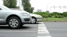 cars drive on the road - drivers wait on the traffic light Footage