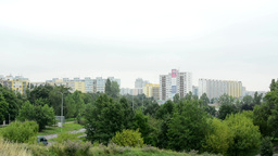 housing estate (development) - high-rise block of flats - with nature (trees and Footage