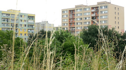 flats (housing estate) with nature (trees) Footage