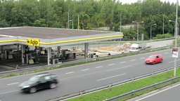 reconstruction of gas station on the highway Footage