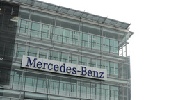 headquarter of Mercedes Benz - part of the building with sign Footage