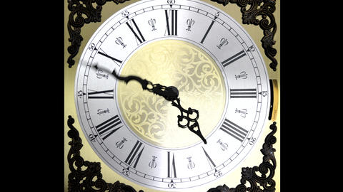 Clock face running forward at speed ornate grandfather time travel 4K Footage