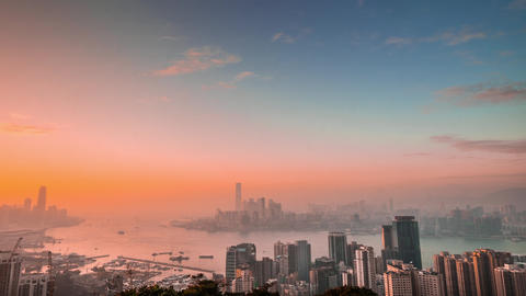 Aerial panorama view of Hong Kong Island at sunset. Time lapse Footage