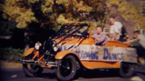 1952: Teenage boys with High School Homecoming Dance car Footage