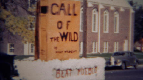 1952: Call of the Wild parade float to beat Pueblo school Footage