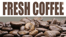 Fresh coffee title over video Footage