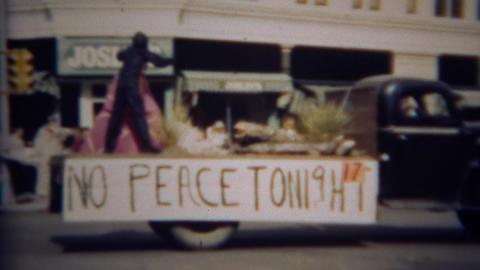 1952: 'No Peace Tonight' football rally parade float Footage