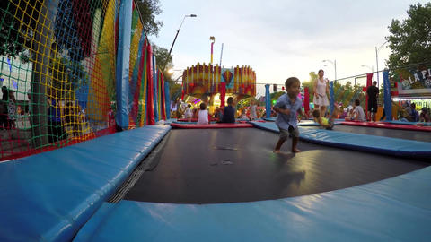 Kids On Safe Trampoline Stock Video Footage