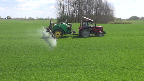 Tractor spraying young wheat field Footage