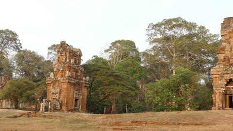 Ancient Angkor Wat Panorama Sunset 4K Footage