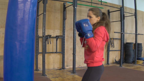 Girl In Boxing Pear Footage