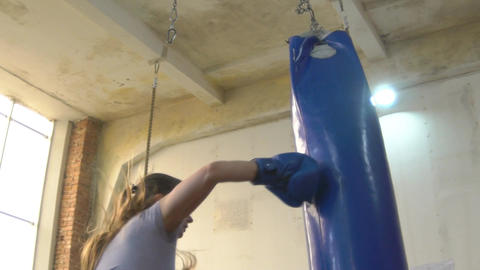 Slow Motion Female Boxer, Self-Defense Training In The Gym, Girl In Boxing Glove Footage
