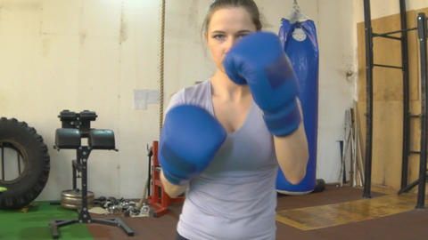 Slow Motion People Training, Exercising, Gym, Fitness Club, Sports, Martial Arts Footage
