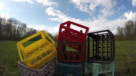 Plastic box heap, time lapse 4K Live Action
