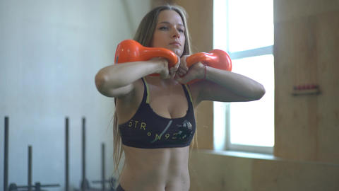 Female Fitness Girl Exercising Footage