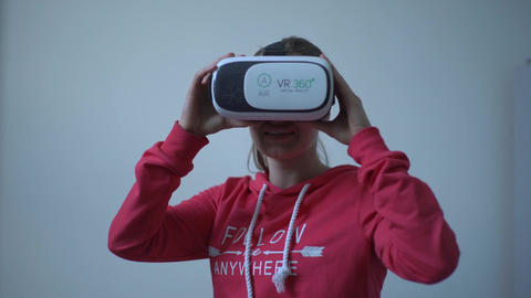 Close Up. Woman Wearing Virtual Reality Vr Glasses. Playing Game Using Vr-Helmet Footage