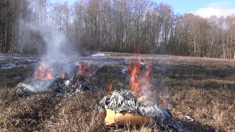 Rubbish burning in spring Footage