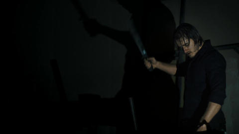 Killer Silhouette, Killing And Stab Victim With A Machete,close Up Shot Live Action