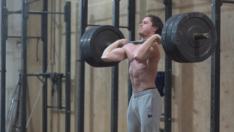 Slow Motion Male Lifting Heavy Weight Footage