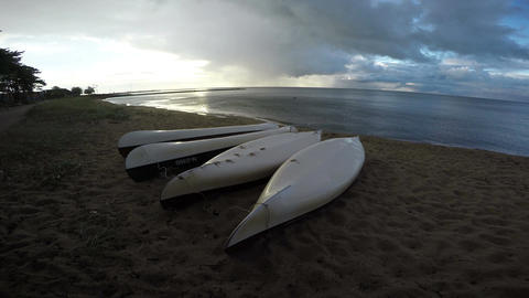 Overturned kayaks in Curonian Lagoon, 4K Footage