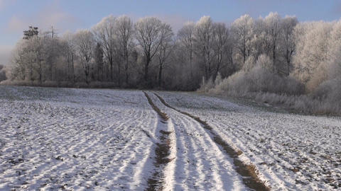 Tractor tracks through the plowed field Footage