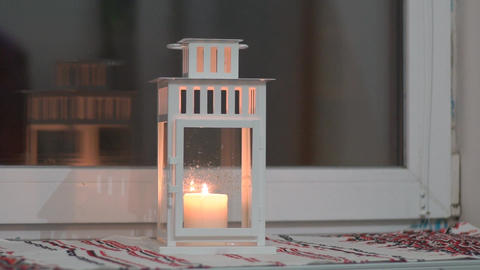 Decorative Candlestick Stands On Windowsill Footage