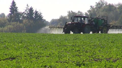 Tractor spraying crop field Footage