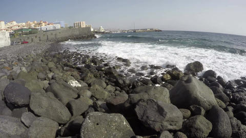 Ocean shore in Tenerife on sunny day, Canary islands, Spain, time lapse 4K Footage