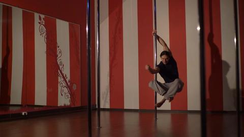 Young Man Dancing. Man Pole Dancer Footage