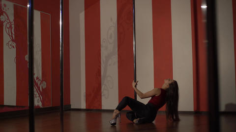 Girl Dancing On A Pole, Dancer, Fitness And Sport. Pole Dance Footage