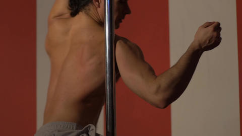 Muscles Young Naked Man. Young Man Dancer. Pole Dance. Slow Motion Live Action