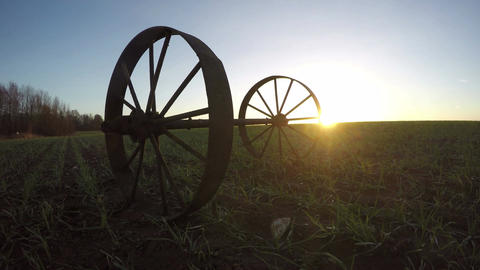 Landscape with two iron wheels and trees in young wheat field, time lapse 4K Footage