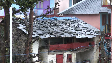 Cityscape with building with slate roof in Himalaya, India Live Action