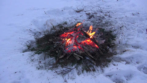 Bonfire burning in the snow Footage