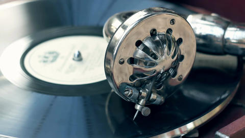 Tonearm needle of the old vintage gramophone retro plate Footage