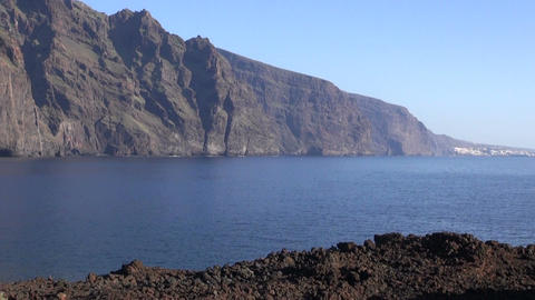 Landscape with lava mountains and ocean in Tenerife, Canary islands, Spain Footage