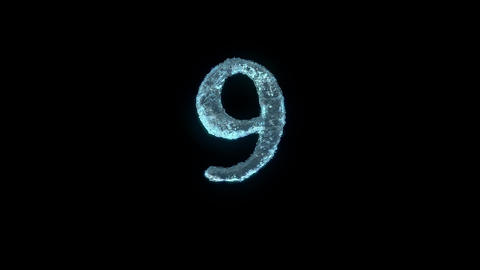 The Number 9 Of Ice Isolated On Black With Alpha Matte Animation