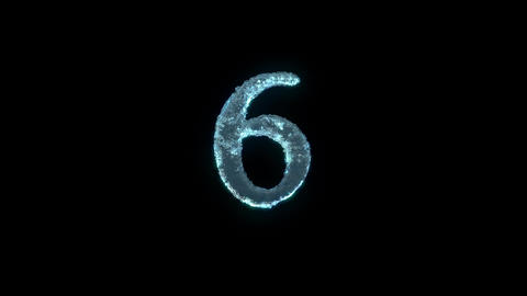 The Number 6 Of Ice Isolated On Black With Alpha Matte Animation