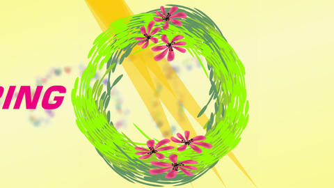 Hello spring banner with green wreath, pink flowers and... Stock Video Footage