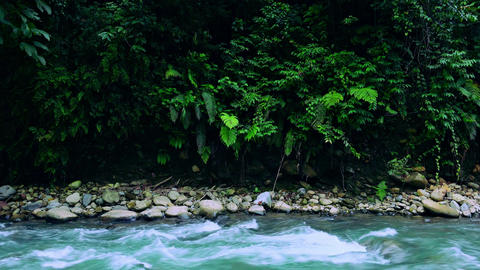 Magical landscape of mountain river enclosed in rocky banks. Sumatra, Indonesia Footage