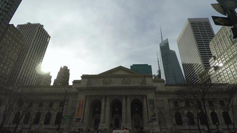New York, USA The New York Public Library Main Branch facade Footage