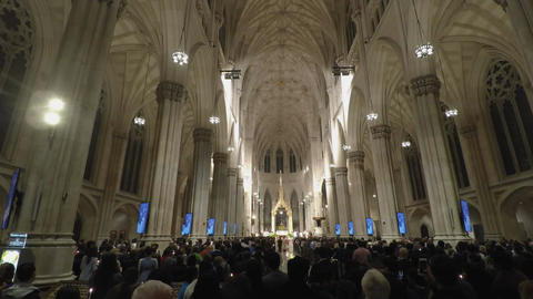 New York, USA St. Patricks Cathedral with people during mass Filmmaterial